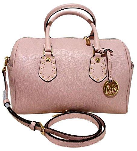 MICHAEL Michael Kors Women's ARIA MEDIUM Leather Satchel Studded Handbag (Blossom)