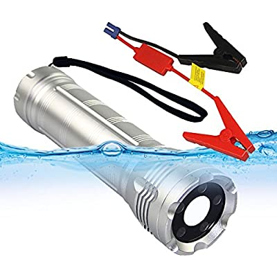 Xinyinuo Silver 10000mAh Waterproof Multi-Function Car Jump Starter with 5W 230 Lumens white LED Flashlight / 3W red LED SOS Emergency Flashlight and Universal Power Bank