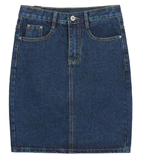 Denim Flap Pocket Skirt - Tootless-Women Large Size Jeans Flap Pockets Solid Color Sheath Skirt Blue XXS