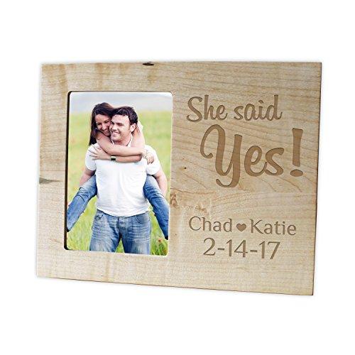 Personalized Hardwood Engagement Frame/Laser engraved 4x6 Photo Frame