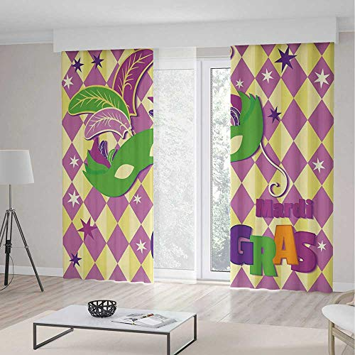 Mardi Gras Blackout Curtains,Checkered Pattern with Stars Graphic Mask Harlequin Festival Composition Decorative,Living Room Bedroom Curtain 2 Panels Set,118 W 106 L,Pink Yellow Green