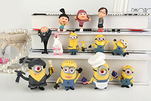 Smartchef Set of 12 Lovely Minion Despicable Me2 3D Dave Minions Movie Toys Action Figures ()