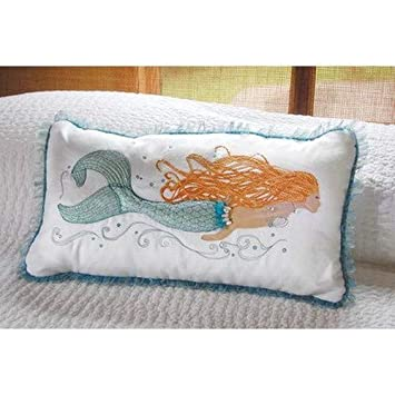 Rightside Design Pearl of The Sea Embroidered and and Applique Mermaid Pillow