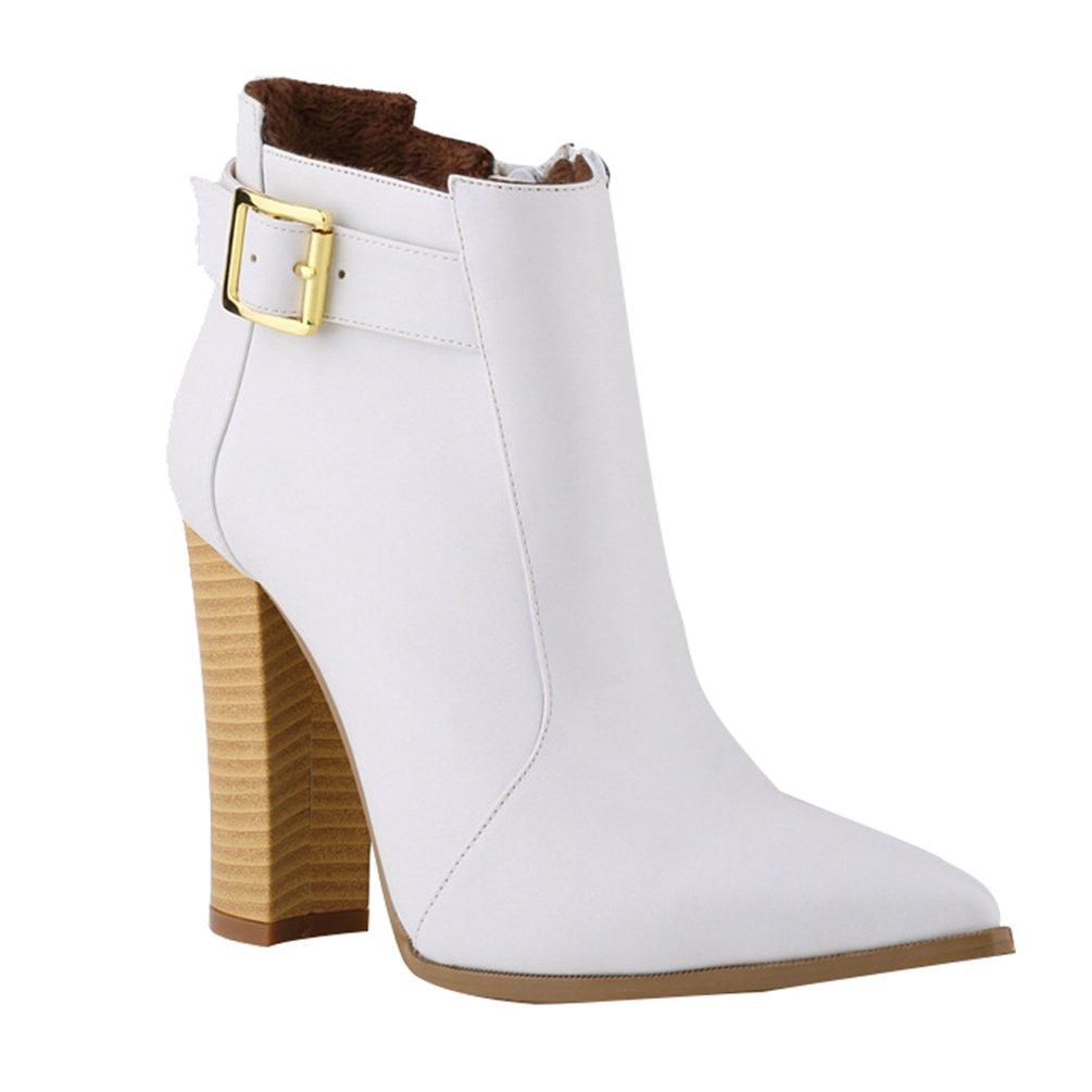 WanYang Frauen Boots High Heel Damen Stiefeletten Absatz Ankle Fruuml;hling und Herbst39 EU(Fu?l?nge:24.5CM/9.64?|Wei?