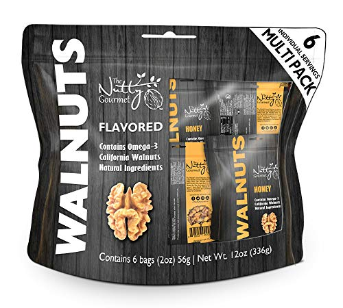 Honey Flavored Walnuts Multi Snack Pack 6/2oz bag by The Nutty Gourmet