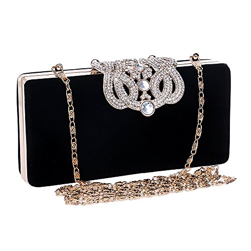 Rhinestones Purses Crystal Black Evening Bling Clutch Bags Crown Jin Cocktail With Ya xEf7IAqq