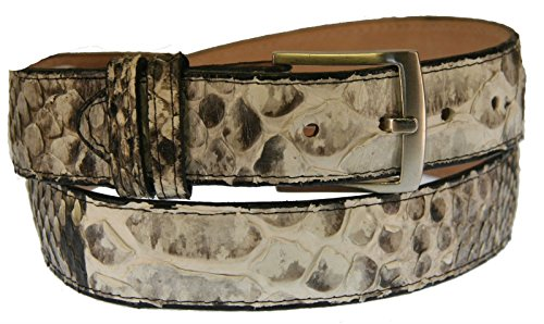 Men's New Genuine Exotic Python Snake Skin Cowboy Western Rodeo Dress Belt Natural Color (32) (Genuine Snake Belt)