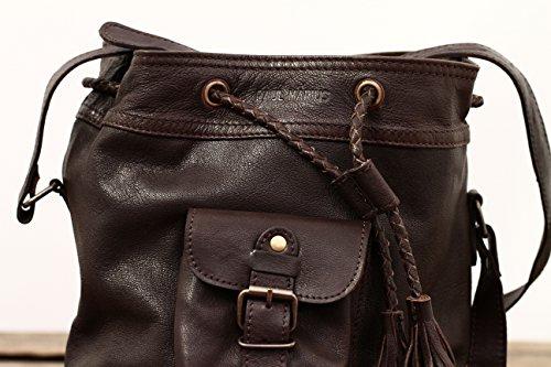 Paul Marius Borsa A Secchiello Borsa In Pelle Stile Vintage Color Deep Dark Brown Le Flaneur