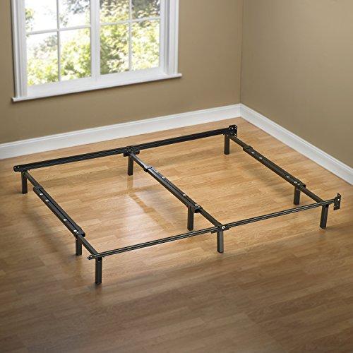 zinus compack adjustable steel bed frame for box spring u0026 mattress set fits full to king