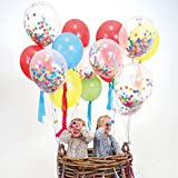 FindFun 12 Rainbow Bright Confetti Balloons for Party Decoration (Pack Of 12)