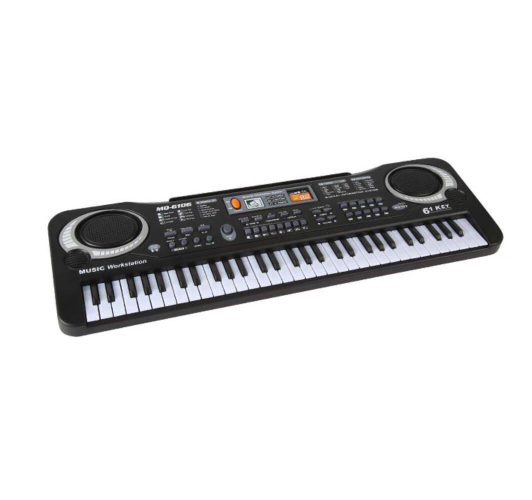 KYOKIM Tastiera per Bambini 61 Tasti Tastiera Standard Tastiera con Microfono Piano Nero