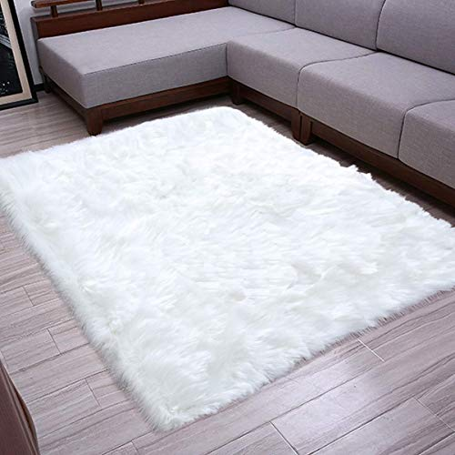 Faux Sheepskin Fur Area Rugs, Super Soft Bedside Carpet Floor Mat for Bedroom Living Room, Rectangle 2.7ft x 5ft, White (Super White Rug Soft)