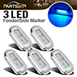 Partsam 5pcs 3'' x 1.25'' Highly Polished Clear/Blue LED Courtesy Accent Utility Light Boats, Submersible Sealed Boat Trailer Marine Oblong Led Lights Utility Lighting w Stainless Steel Bezel