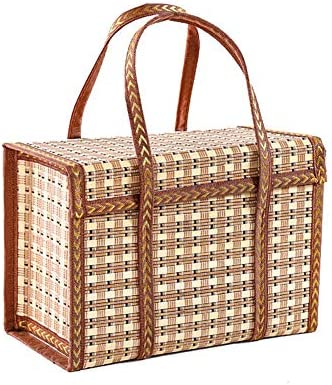 MOXIN Foldable Woven Picnic Basket Shopping Bags StorageLid Hand Made Bamboo Portable Fashion Groceries Gifts Beach Bag Big Totes Storage Bag