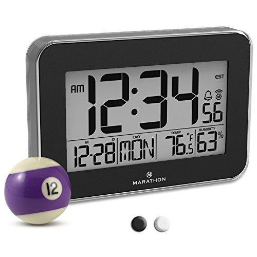 Marathon CL030060BK Designer Atomic Wall Clock with Polished Acrylic Bezel. Displays Calendar, Indoor Temperature and Humidity. (Bezel Clock)