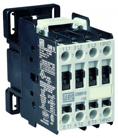 WEG Electric CWM12-00-20V24, 2-Pole, 12 Amps, 220-240VAC Coil, IEC Contactor