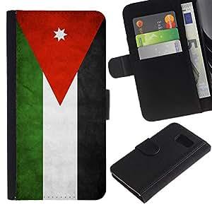 Billetera de Cuero Caso Titular de la tarjeta Carcasa Funda para Samsung Galaxy S6 SM-G920 / National Flag Nation Country Jordan / STRONG