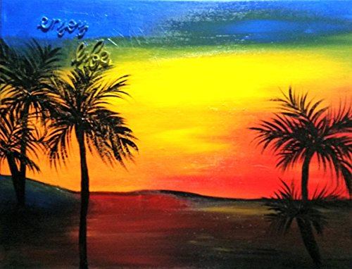 Sunset Tampa Bay - Enjoy Life B82 Original Mixed Media Painting of a sunset over Tampa Bay with raised words, Enjoy Life. 11