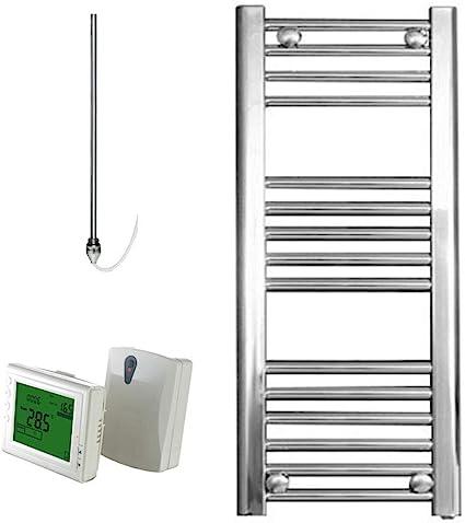 Electric Timer Thermostat Bray Straight Chrome Heated Towel Rail Radiator