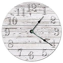 WHITE WOOD BOARDS CLOCK Large 10.5 Wall Clock Decorative Round Novelty Clock PRINTED WOOD IMAGE Beach Wood Clock