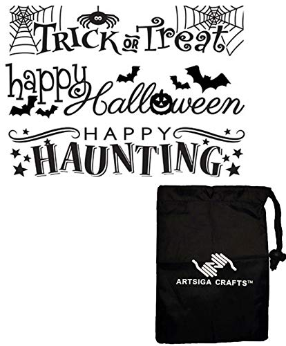 Darice Papercraft Embossing Folder Halloween 3Pk 1219-302 Bundle with 1 Artsiga Crafts Small Bag ()