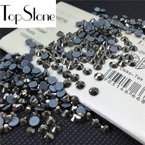 Strass Jet - Calvas Top Quality AAA MC HotFix Rhinestones ss6 8 10 12 16 20 30 Crystal Flatback Strass Glass Stone for Clothing Accessories - (Color: Jet Hematite, Item Diameter: 6SS 1440pcs)