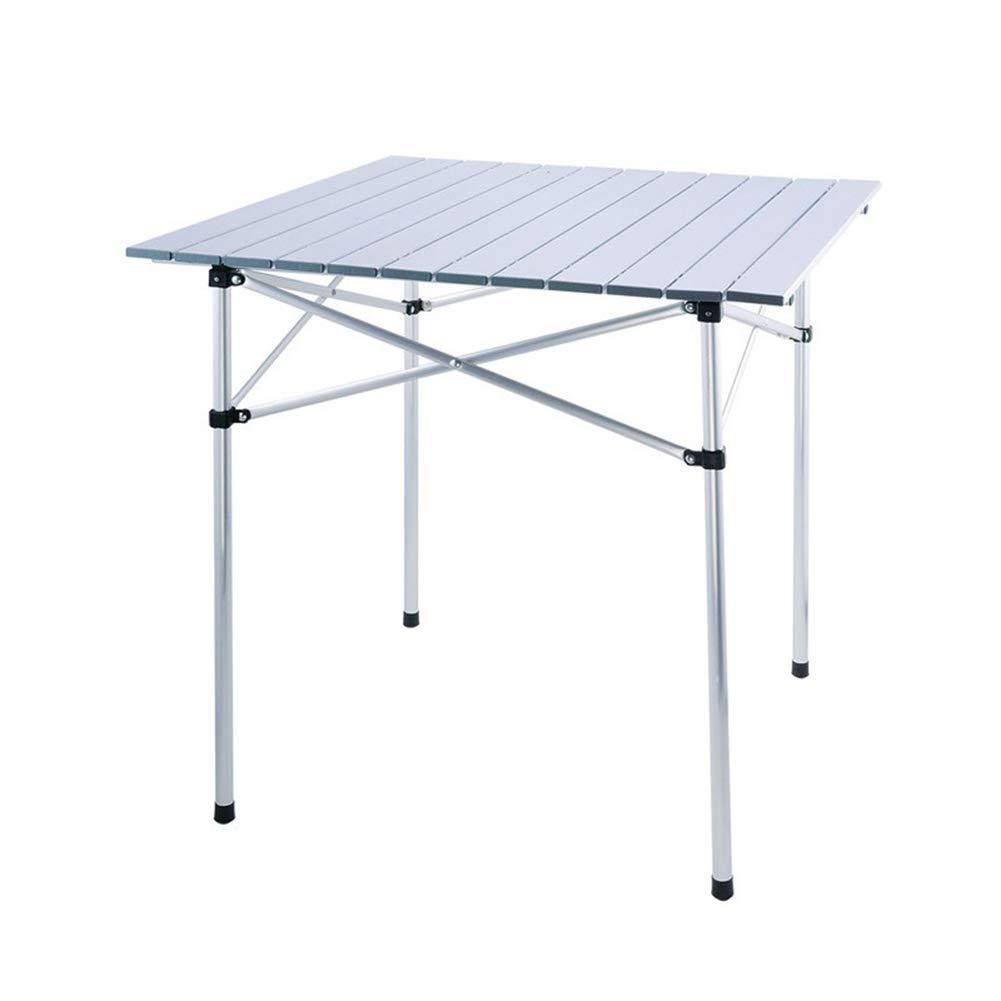 PM-TAIDU Klapptisch Draussen Tragbar Aluminiumlegierung Stall Tables, Camping Grill Esstisch, Silber, 70  70  70 cm