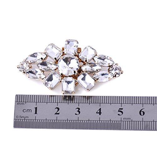 ElegantPark AL zapatos de boda Accesorios Cristales Strass Diamond Desmontable Blush zapato Clips 2 Pcs Dorado
