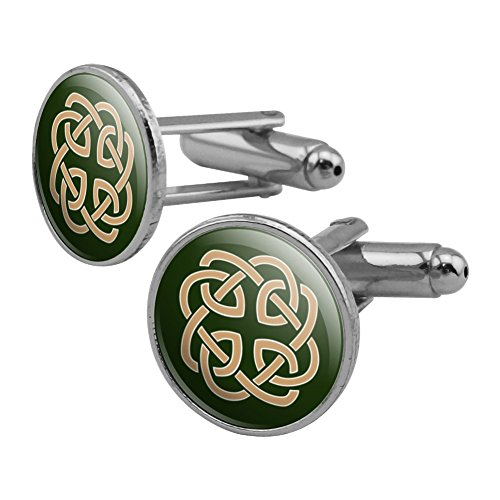 Celtic Knot Love Eternity Round Cufflink Set Silver Color Celtic Design Cufflinks