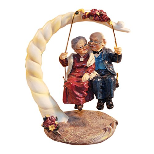 DreamsEden Loving Elderly Couple Figurines, Old Age Life Resin Home Decoration with Gift Card for Anniversary Wedding Swing