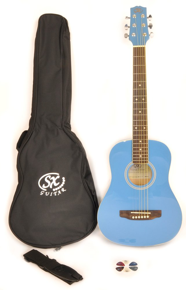 SX RSM 1 34 BBU LH 3/4 Size Left Handed Bubblegum Blue Acoustic Guitar Package, Black with Carry Bag, Strap, and Guitar Picks Included