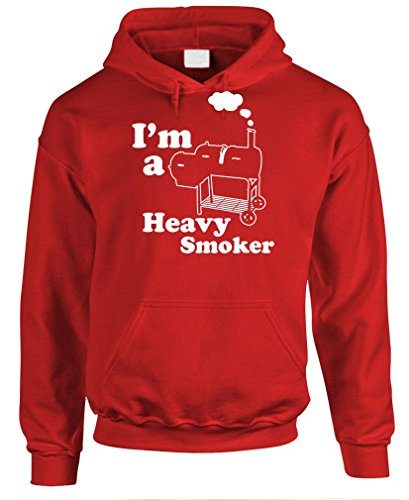 - I'm A Heavy Smoker - Grill Barbecue BBQ - Mens Pullover Hoodie, L, Red ()