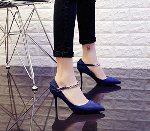Olici MDRW-Lady Elegant Arbeit Freizeit Feder Pendler Pendler Pendler Punkt Temperament Wildleder Fein Mit 8 cm Heels All-Match Eine Schnalle Blaue Schuhe Schuhe 0c7d6b
