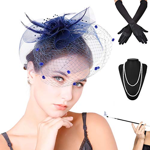 Fascinators Pillbox Tea Hat for Women Tea Party Accessories Set - Kentucky Derby Headband,Long Cigarette Holder, Opera Satin Long Gloves,Pearls Necklace & Elastic Bracelet, Navy