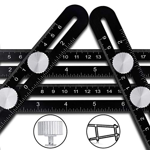 (Multi Angle Measuring Ruler Template Tool - CrazyLynX Premium Aluminum Alloy Easy Angle Ruler, Precise Angle Ruler with Free Protective Pouch, Great Gift for DIY Handymen Builders Carpenters Tilers)