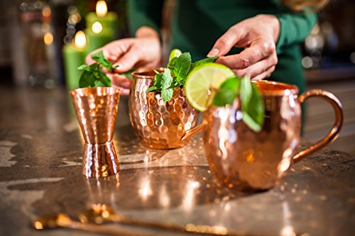 [Gift Set] Moscow Mule Copper Mugs set of 2 – Most elegant Moscow mule kit – 100% solid copper 16Oz hammered cups with Jigger and Stirrers. Love it or get refund.