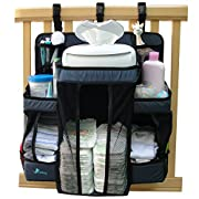 Baby Nursery Organizer & Diaper Caddy, VINKLAY Crib Changing Table Hanging Storage With 6 Shelves & 4 Pockets for All Baby Essentials, Toys & Lotions, Perfect Baby Shower Gift, Dark Blue