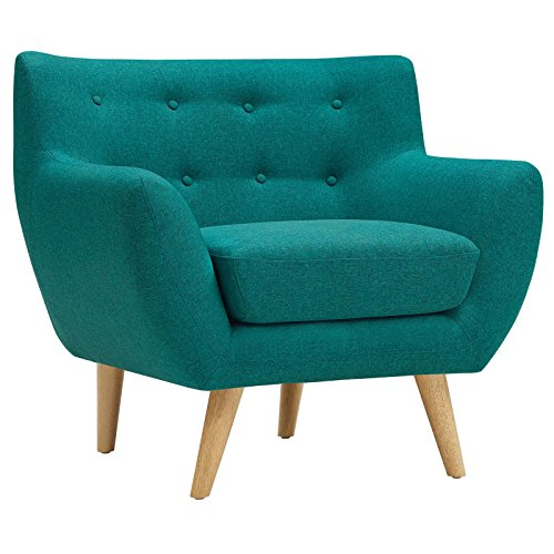 Modway Remark Mid-Century Modern Accent Arm Lounge Chair with Upholstered Fabric in Teal -  EEI-1631-TEA