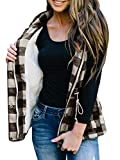 Women's Winter Buffalo Plaid Jacket Vest with Sherpa Fleece Lining