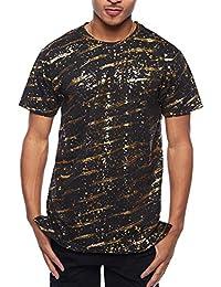 Mens Hipster Hip Hop Graphic Foil Splatter Crewneck Long T-Shirt TS7009