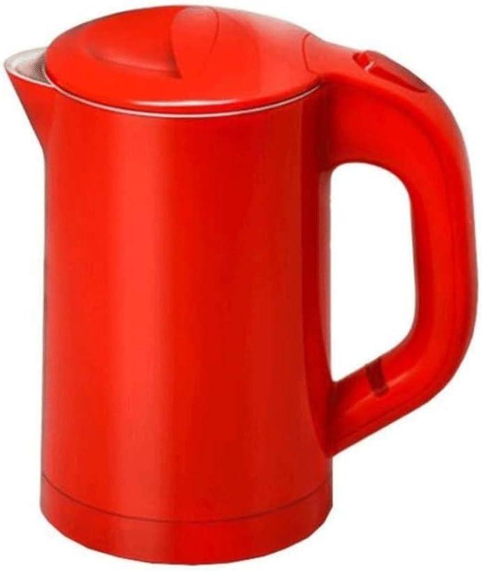 海外のファストホット旅行旅行ポータブルヨーロッパミニケトルステンレススチール製二重絶縁 (Color : Red)