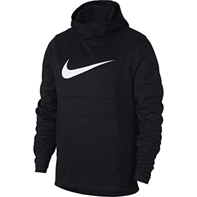 55a4bfde4cff Nike Mens Spotlight Pull Over Hooded Sweatshirt Black White 925634-010 Size  Medium