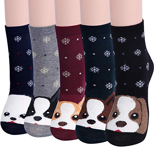 Women's Cute Dog Animal Socks for Teen Girls Soft Funny Funky Gifts Pack of 5 (Cute Dog) ()