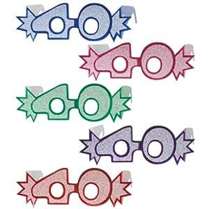 """Beistle 54840-40 25-Pack """"40"""" Glittered Foil Eyeglasses"""