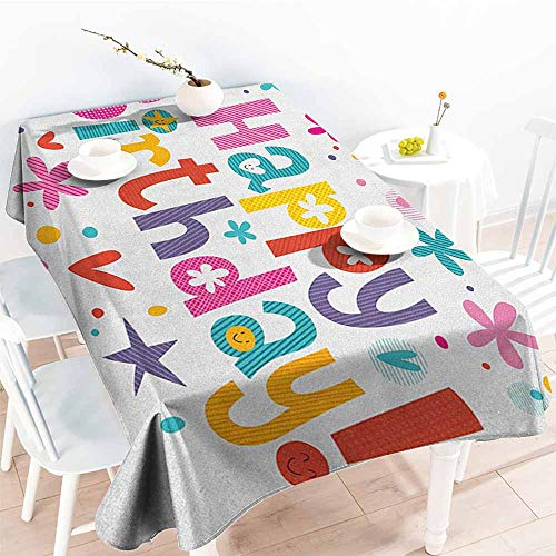 - familytaste Birthday,Rectangular Table Cover Natural Garden Themed Design with Daisies Cheerful Mood Hearts Stars Celebration 70