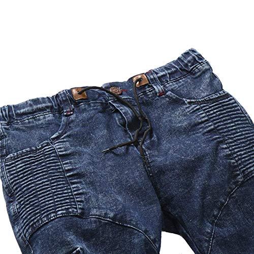 Trasporto In Jeans Slim Da Motociclista Fit Uomo Elasticizzati Denim Pantaloni Casual Retro Blau 8ITw8