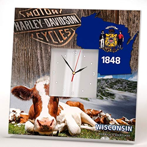 - Wisconsin State Wall Clock Mirror Decoration Fan Art Printed Home Room Gift Seal Flag Wooden Design