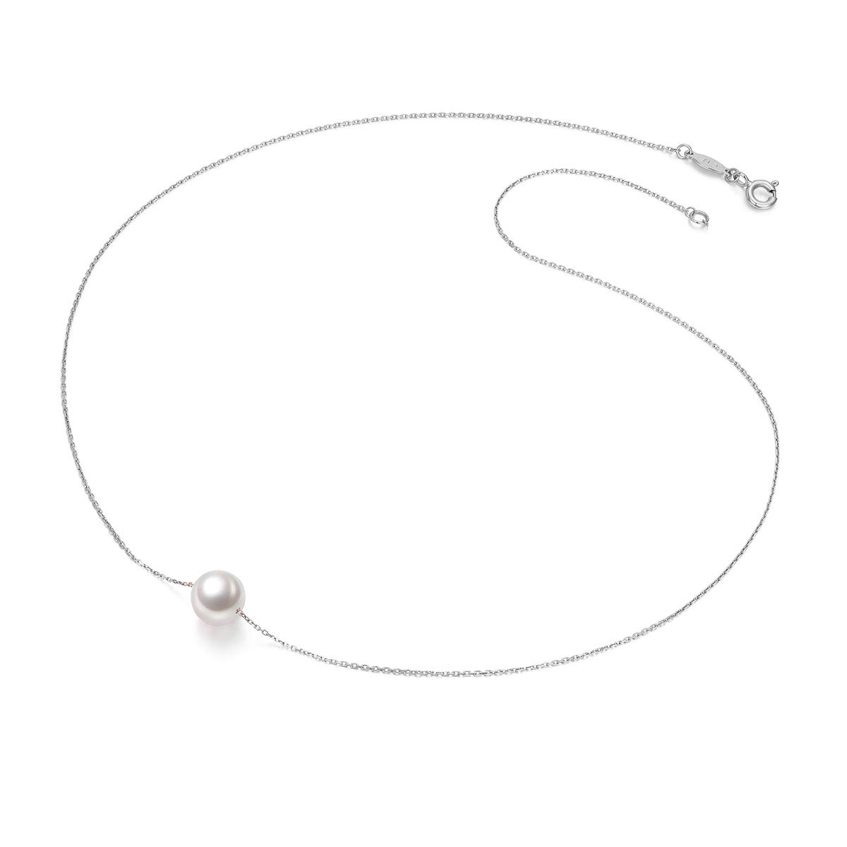 033511701 Amazon.com: Amelery Pearl Necklace Silver White Simulated Single Pendant  Pearl 9-10mm 925 Solid Sterling Silver Singapore Chain 18'' Necklaces for  Women: ...