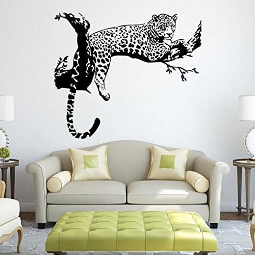 (Oksale® Black Leopard DIY Vinyl Wall Stickers Papers Decor Decal Removable Bedroom Living Room Home Applique Mural)