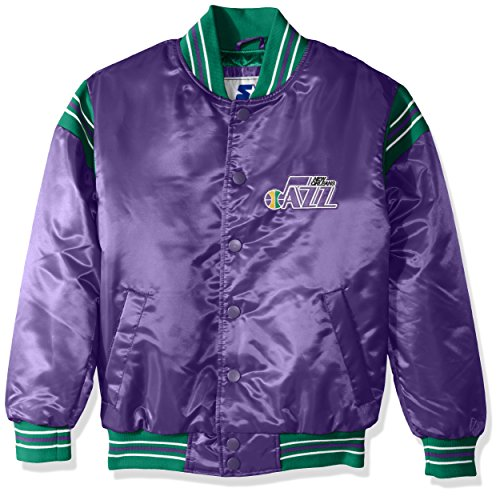 STARTER NBA New Orleans Jazz Youth Boys The Enforcer Retro Satin Jacket, Medium, Purple -